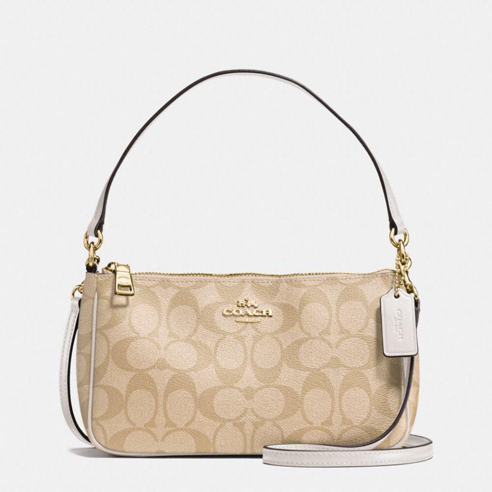 Túi Coach F58321 Messico Top Handle Pouch In Signature Khaki/Chalk - Chính hãng