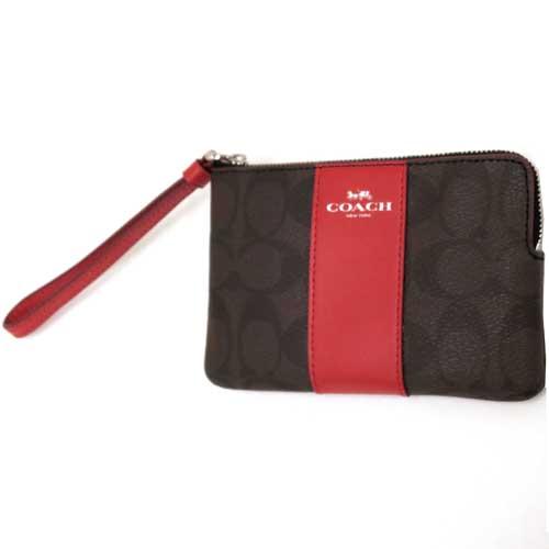 Coach canvas màu nâu sọc đỏ được thiết kế với màu sắc hoa văn nổi bật