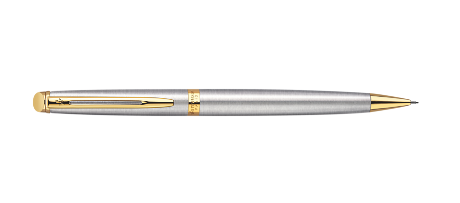 Waterman S0920390 Hemisphere Mechanical Pencil, 0.5 mm, Stainless Steel with Gold Trim