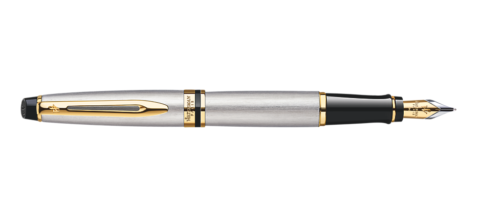 Bút Waterman EXPERT Stainless Steel Fountain Pen GT - Ngòi M - Mực Xanh - S0951940